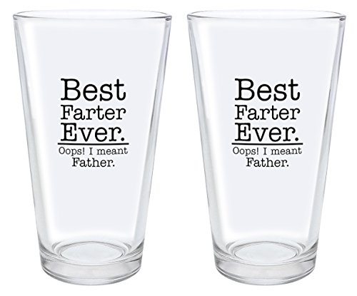 Fathers Day Gifts Best Farter Ever Oops I Meant Father Funny Christmas Gifts for Dad Gag Gifts Gift Pint Glasses 2-Pack Pint Glass Set Black