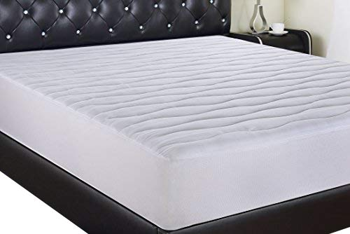 (Allrange Luxury 300TC Hypoallergenic Quilted Fitted Cotton Down Alternative Mattress Pad,Fits up to 22