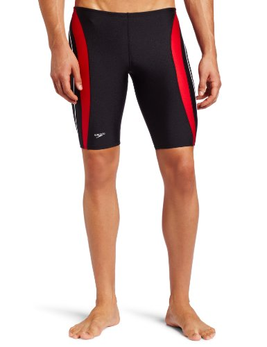 Speedo Men's Xtra Life Lycra Rapid Splice Jammer Swimsuit, Black/Red, - Mens Swimwear Spandex
