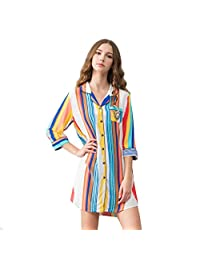 Shirt sleep skirt woman summer pure cotton girl casual pajamas home clothing ( Color : Multi-colored , Size : XXL )