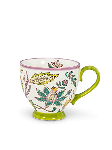 Abbott Collection 27-CHINTZ-CAP-13 Grn Floral Handled Cup-3.5