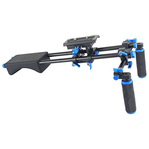 Annsm Video Shoulder Support Rig Stabilizer Slider for Long Time Video Shooting for DSLR Camera/Camcorder Such as Sony Nikon Canon with Soft Rubber Dual Hand Handgrips and Rubber Shoulder Pad by Annsm