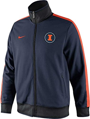 Nike Illinois Fighting Illini NCAA N98 Full Zip Training Track Jacket (Navy Blue, Large)