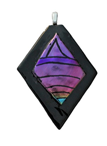 Jewels of Fire Dichroic Glass Diamond-Shaped Pendant in Shades of Pink and Purple (Pink Glass Pendant Dichroic)