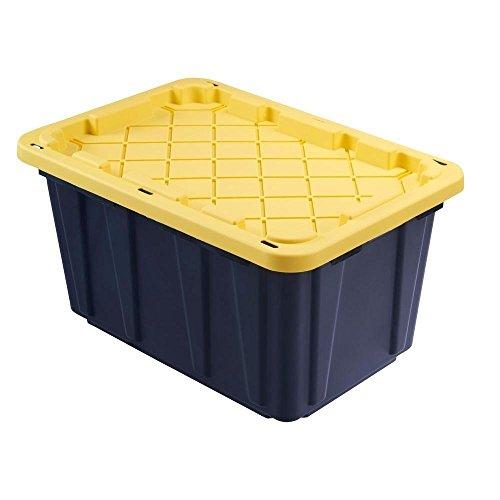 HOMZ Durabilt 27 Gallon Tough Tote, Black and Yellow, Set of 6