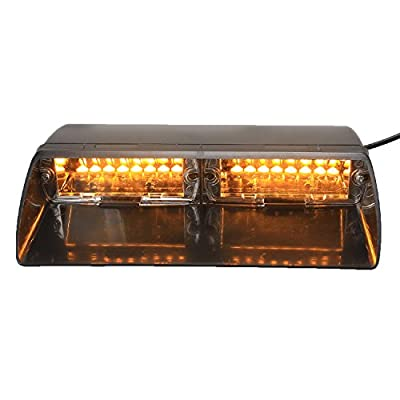 XKTTSUEERCRR 16LED 18 Flashing Mode Vehicle Dash Deck Grill Windshield Emergency Hazard Warning Strobe Flash Light For Truck, Law Enforcement, Firefighter, EMS, Ambulance, Private Security (Amber)