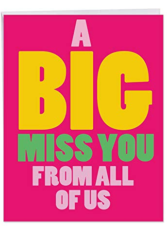 "J2733MYG-US Jumbo Funny Miss You Greeting Card from All of Us: A Big Miss You from Us Featuring The Strength Of Friendship, with Envelope (Big Size: 8.5"" x 11"")"
