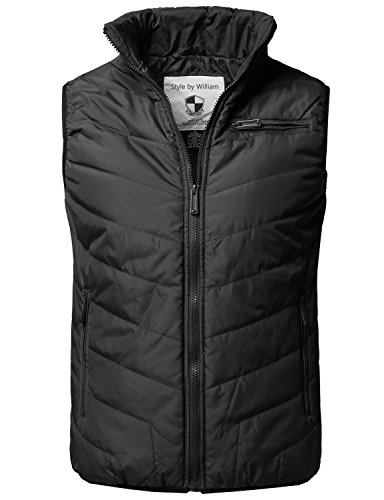 Style by William Solid Front Zip Up Outdoor Comfortable Padded Vest Outwear Jacket Black M