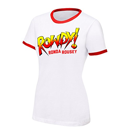 WWE Ronda Rousey Rowdy Ronda Rousey Women's Authentic T-Shirt White Small by WWE Authentic Wear