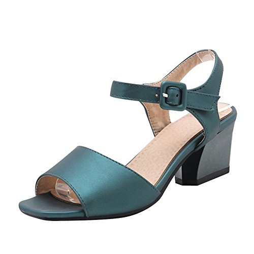Mee Shoes Womens Fashion Block-heel Sandals Shoes Blue