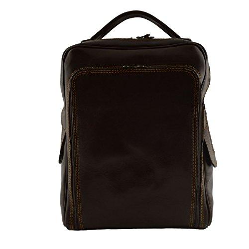 Mochila Para Hombre En Piel Verdadera Con Bolsillo Frontal Color Marrón Oscuro - Peleteria Echa En Italia - Bolso Espalda