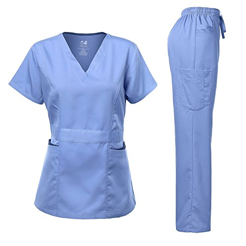 Medical Uniform Women's Scrubs Set Stretch Contrast Pocket Ceil Blue XS