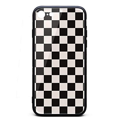 Yiastia_Minyi iPhone 6 Plus Case, iPhone 6S Plus Case Black Checkered Squares 9H Tempered Glass Back Cover and TPU Rubber Frame Phone Cover Compatible for iPhone 6/6S Plus
