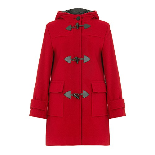 De La Creme Women`s Wool & Cashmere Winter Hooded Duffle Coat Red Size 10 -