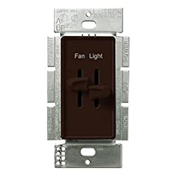 Lutron S2-LFSQ-BR, Single Pole 1-5Amp Ceiling Fan and Light Dimming Control, Brown