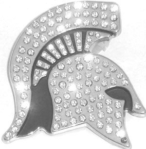 Michigan State Spartans Metal Auto Emblem with Crystals