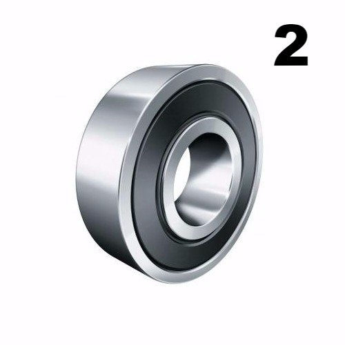 Two (2) 608-2RS 8x22x7 Precision Double Shielded Greased Ball Bearings 608 RS ()