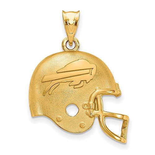 NFL Sterling Silver Gold-plated LogoArt Buffalo Bills Football Helmet Pendant