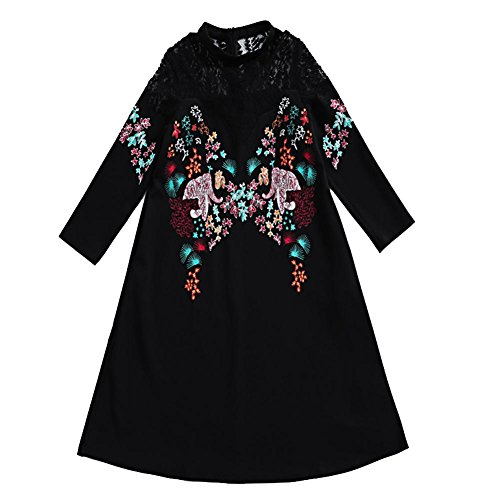 YANXH Women Manual Embroidery Tops Openwork Lace Stitching T-Shirt Loose Blouses Dress, Black, Asian M(Bust 88cm)