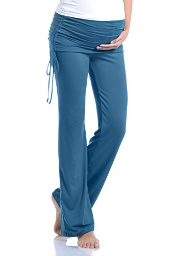 Beachcoco Women's Maternity Fold Over Ruched Drawstring Pants (XL, Teal Blue)