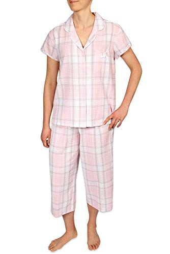 Miss Elaine Women's Seersucker Pajama Set, Button Front Top and Cropped Pants ()