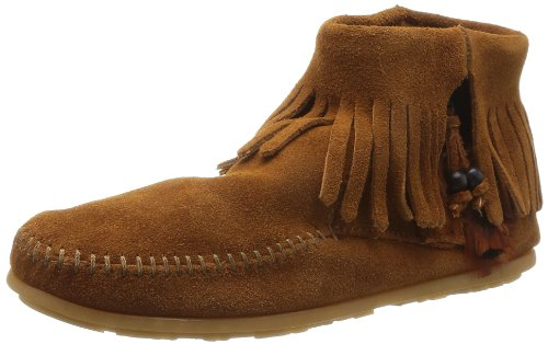Minnetonka Women's Concho/Feather Side Zip Boot,Brown,6 M US Minnetonka Genuine Boots