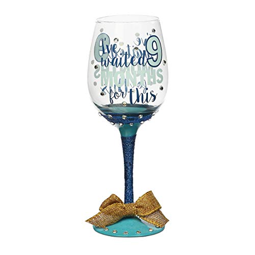 Topadorn Red Wine Glass Hand-Painted Months Claret Cup for Gift Entertaining 12 oz,Blue]()