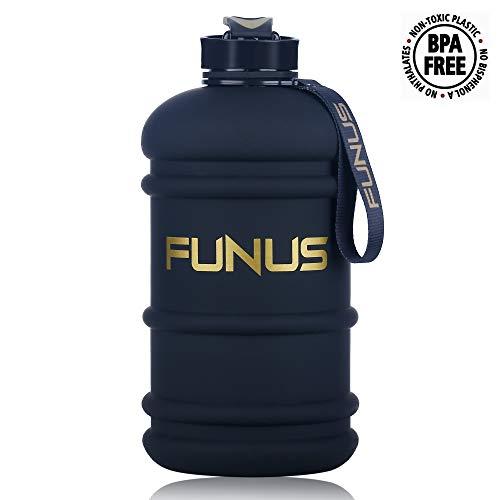 Jug Accessories - FUNUS Big Water Bottle 2.2L Large Water Bottle BPA Free Leak Proof Reusable Odorless Big Capacity Water Jug for Men Women Fitness Gym Outdoor Climbing Gym Water Bottle (2.2L Matte Jet Black)