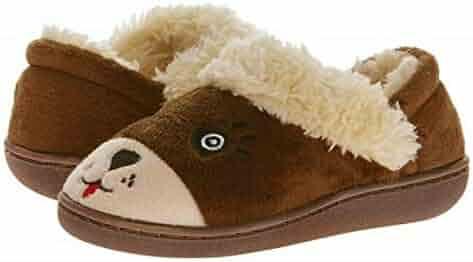 cb6e4db3ce7e Kids Slippers Fuzzy Brown Bear Toddler Little Boys Girls - Indoor Outdoor  Warm