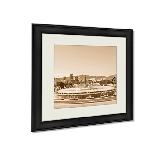 Ashley Framed Prints Magic Fountain In Plaza Espana, Wall Art Home Decor, Sepia, 22x22 (frame size), AG6290188 by Ashley Framed Prints