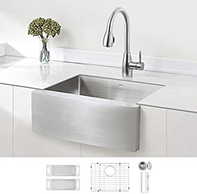 Zuhne 24 Inch Single Bowl Farmhouse Curved Apron Front Stainless Steel Kitchen Sink 16 Gauge Amazon Com