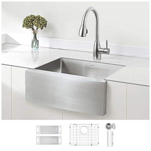 Farmhouse Kitchen ZUHNE Stainless Steel Farmhouse Kitchen Sink (24-Inch Apron Front, 16-Gauge Small Bowl) farmhouse kitchen sinks