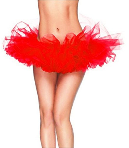 Women's, Teen, Adult Classic Elastic 3, 4, 5 Layered Tulle Tutu Skirt (One Size, Red 5Layer)
