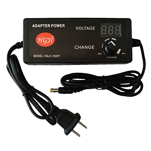 HGJI 60W Adjustable AC/DC Adapter Switching Power Supply 100-240V to 3.3-24.7V 2.5A 50-60hz with LED Voltage Display US Plug