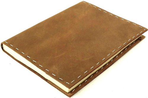 Rustic Refillable Leather Sketchbook with Handmade Paper – 6x 8 – Rustic Ridge Leather (Medium Brown)