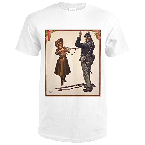 Annie Oakley - USA c. 1905 - Vintage Advertisement (Premium White T-Shirt - Painting Oakleys