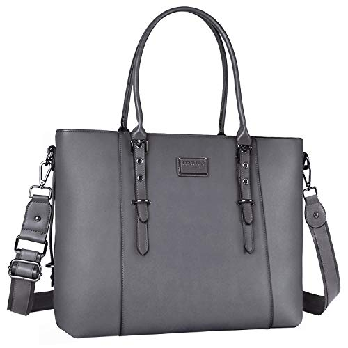 MOSISO Laptop Tote Bag for Women (Up to 15.6 Inch),Water Resistant PU Leather Large Capacity with Padded Compartment Business Work Shoulder Briefcase Handbag Compatible MacBook & Notebook,Gray