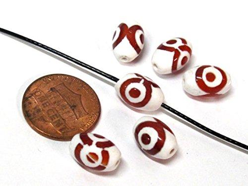 [해외]4 Beads - Tibetan etched agate dzi bead 8 mm x 12 mm - GM128B / 4 Beads - Tibetan etched agate dzi bead 8 mm x 12 mm - GM128B