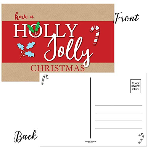Christmas Postcard Holly - Holly Joly Christmas Postcards - 50 Holiday Fun Postcards - 4 x 6 Inch Postcards (Holly Jolly)