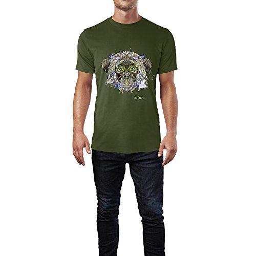 SINUS ART® Affenkopf mit indischem Muster Herren T-Shirts in Armee Grün Fun Shirt mit tollen Aufdruck