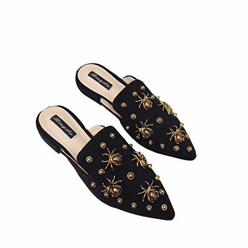 YUCH Manolo Ladies' Avec L'Été Grâce Chaussures Printemps Black Bas Le Et Talon Chaussons Blahnik qTWpySFW