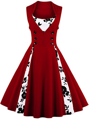 Jiuzhoudeal Women's 1950s Vintage Sleeveless Retro Swing Party Classy Dress (XX-Large, Wine Red-Floral)