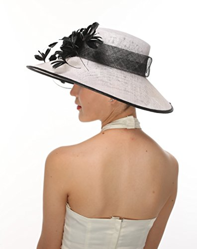 Ray&danile Gorgeous Wide Brim Sinamay Hat Butterfly Floral Feathers Derby Floppy Dress White with Black