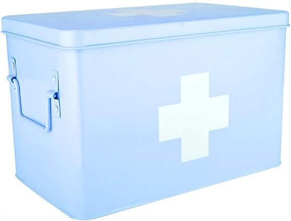Cylficl Botiquín de Primeros Médico Caja de Almacenamiento con Dos Capas y 2 Compartimentos, Metal Primeros Auxilios Medicina Caja de Almacenamiento (Color : Blue, Size : S): Amazon.es: Hogar