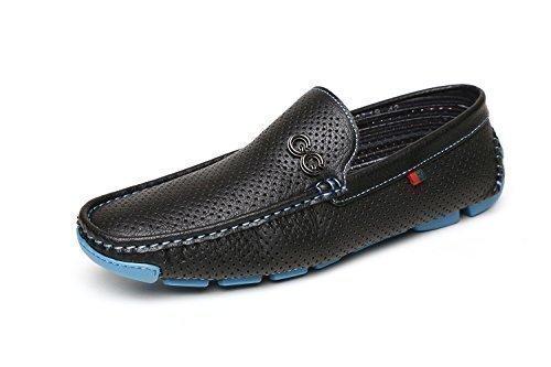 Hombre Nuevo Zapatos sin cordones Conducción Mocasines Negro/café Estilo Italiano Mocasines UK Size Negro