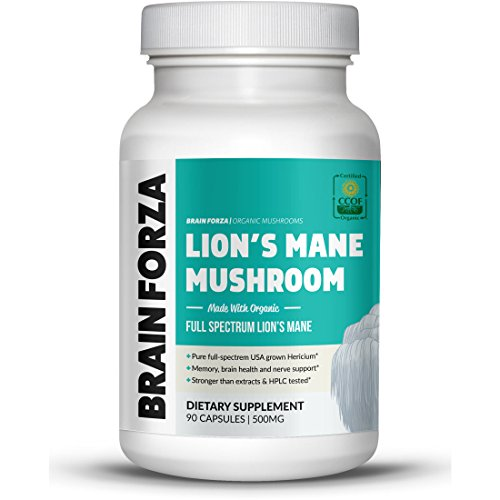 Brain Forza Organic Lions Mane Mushroom Capsules, Natural Support for Mental Clarity, Focus, Memory, Nerve Health, Non-GMO, Vegan, Organic, 90 Capsules