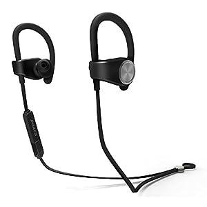 Bluetooth Headphones, Doace V4.1 Wireless Sport Sweatproof Stereo Earphones In-Ear Noise Cancelling Earbuds Ergonomic Design 180 Degree Adjustable Ear Hook Headset with Mic (Black)