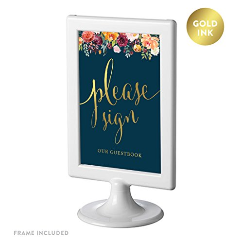 Andaz Press Framed Wedding Party Signs, Navy Blue Burgundy Coral Florals Flowers with Metallic Gold Ink, 4x6-inch, Please Sign our Guestbook, Double-Sided, 1-Pack