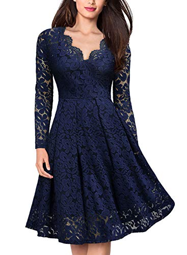 MISSMAY Women's Vintage Floral Lace V-Neck Cocktail Formal Swing Dress, Small, Navy Blue (Wedding Dresses With Long Sleeves And Lace)