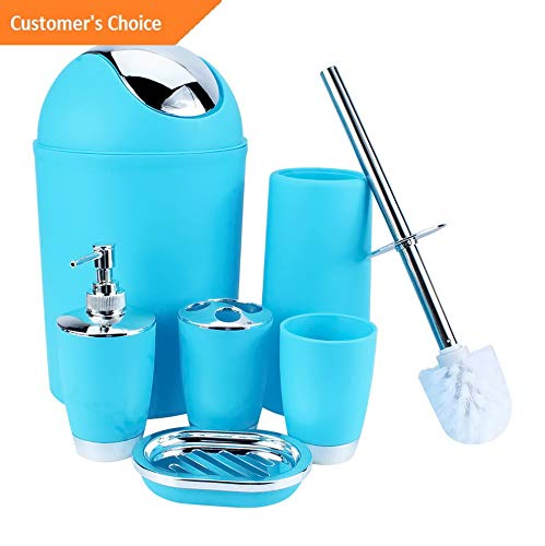 (Werrox 6Pcs Bathroom Accessory Set Bin Soap Dish Dispenser Tumbler Toothbrush Holder US | Model BTHRMCCSSR - 300 |)